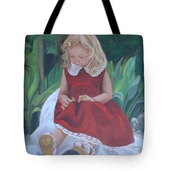Girl In The Garden Tote Bag