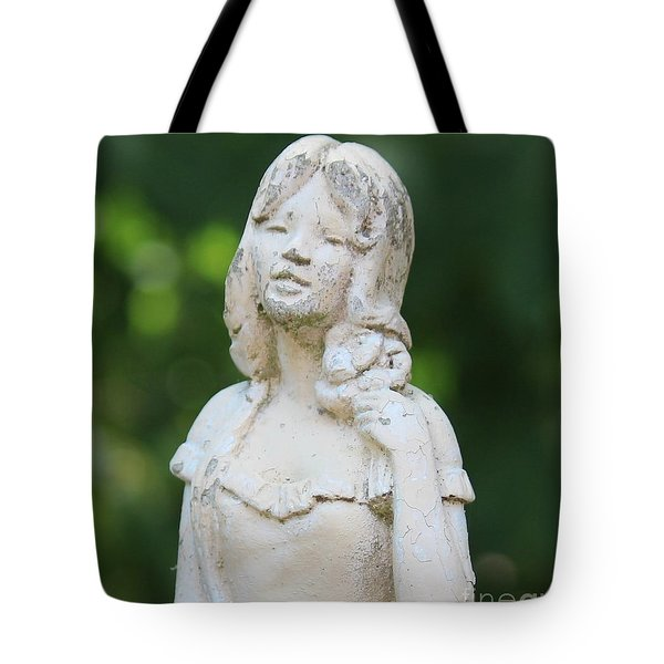 Girl In The Garden Statue Tote Bag