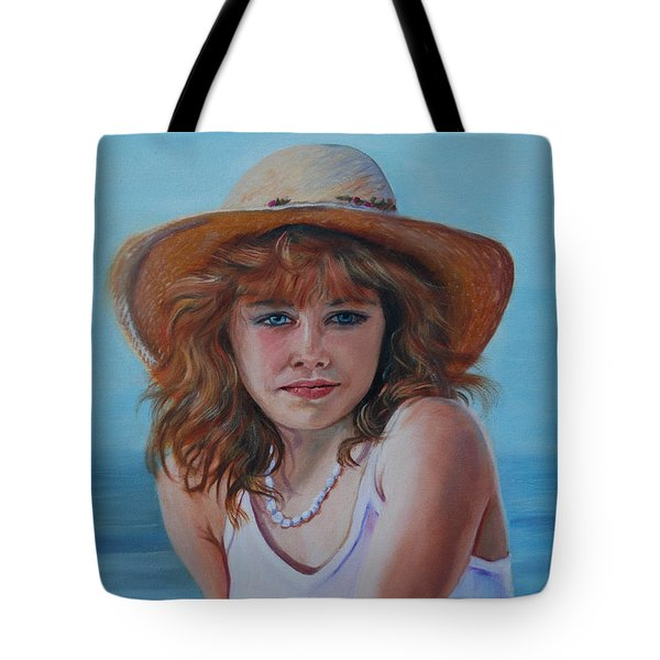 Girl In The Straw Hat Tote Bag