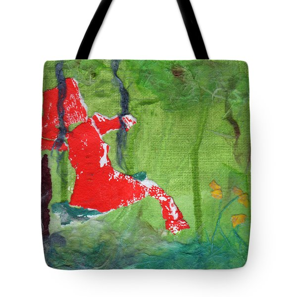 Girl On A Swing Tote Bag