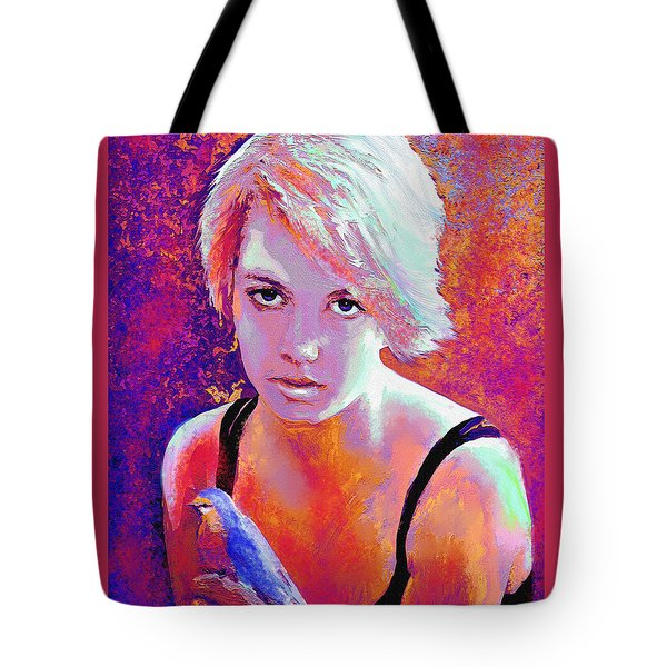 Tote Bag featuring the digital art Girl On Fire by Jane Schnetlage
