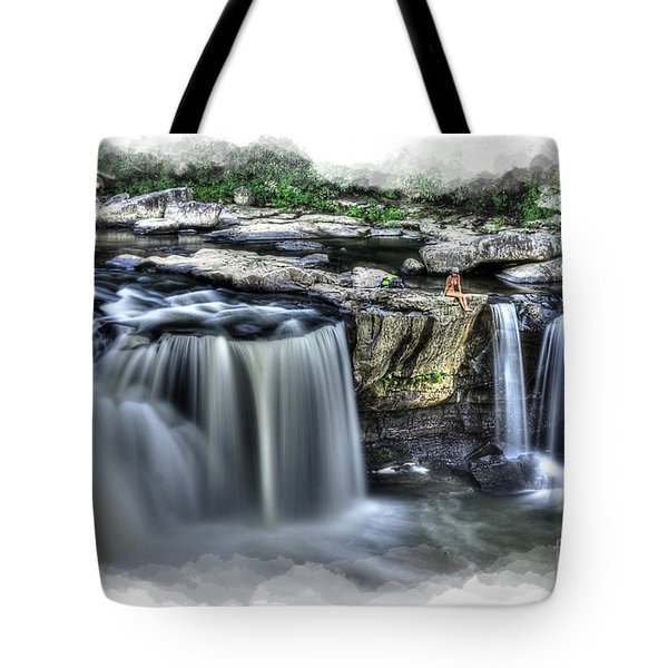 Girl On Rock At Falls Tote Bag by Dan Friend