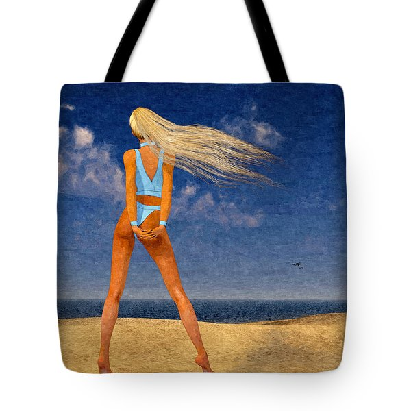 Girl On The Beach...watercolor Effected Tote Bag