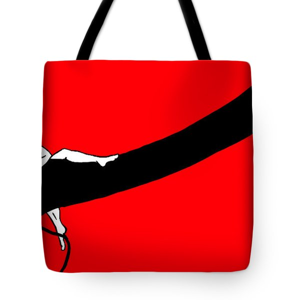 Girl On The Tree Of Time Red Tote Bag