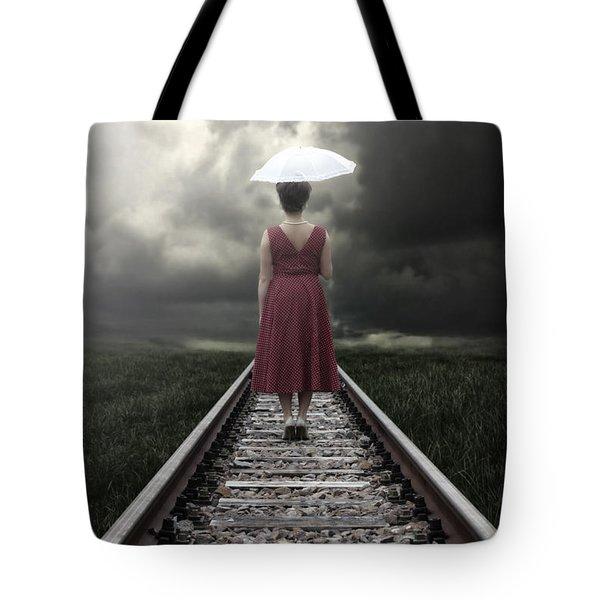 Girl On Tracks Tote Bag by Joana Kruse