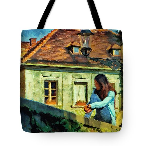 Tote Bag featuring the painting Girl Posing On Stone Wall by Jeff Kolker