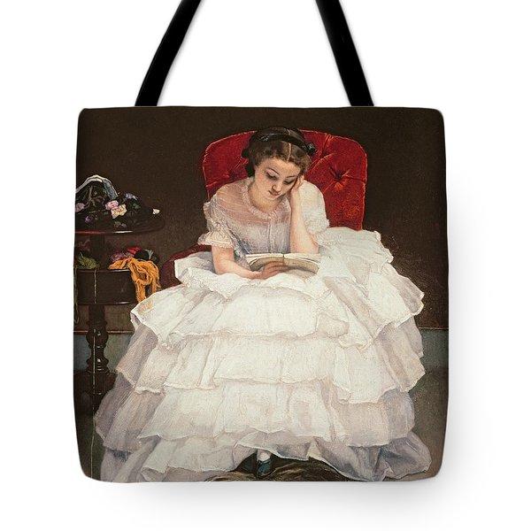 Girl Reading Tote Bag