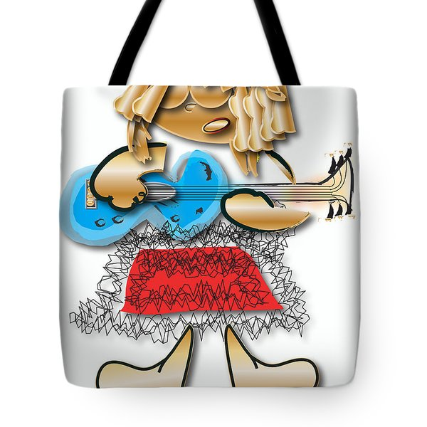 Tote Bag featuring the digital art Girl Rocker 6 String Guitar by Marvin Blaine
