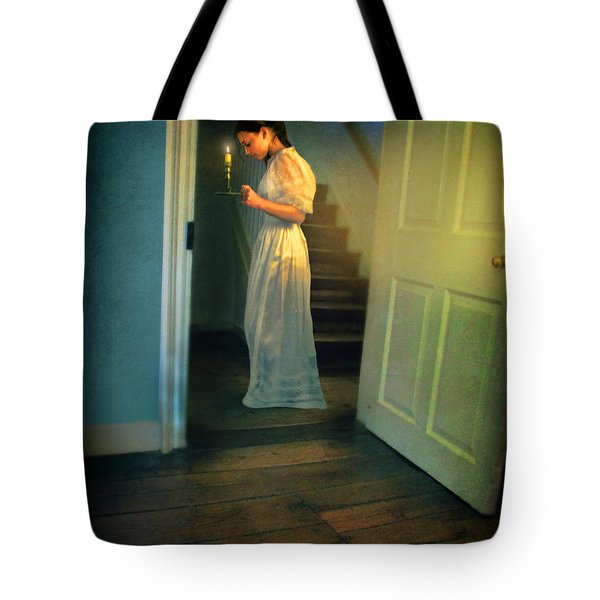 Girl With A Candle Tote Bag by Jill Battaglia