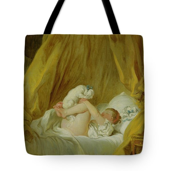 Girl With A Dog Tote Bag by Jean Honore Fragonard