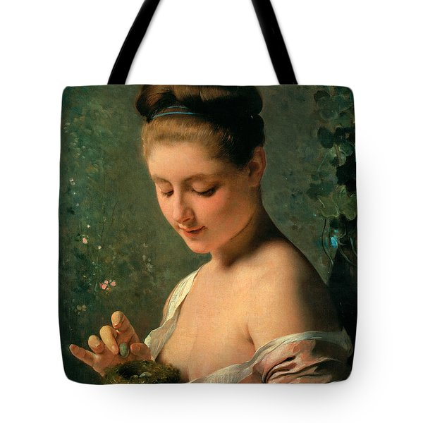 Girl With A Nest Tote Bag by Charles Chaplin
