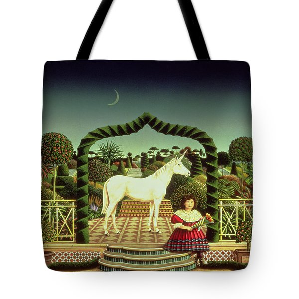 Girl With A Unicorn Tote Bag by Anthony Southcombe
