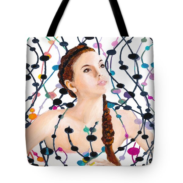 Girl With Beads Tote Bag