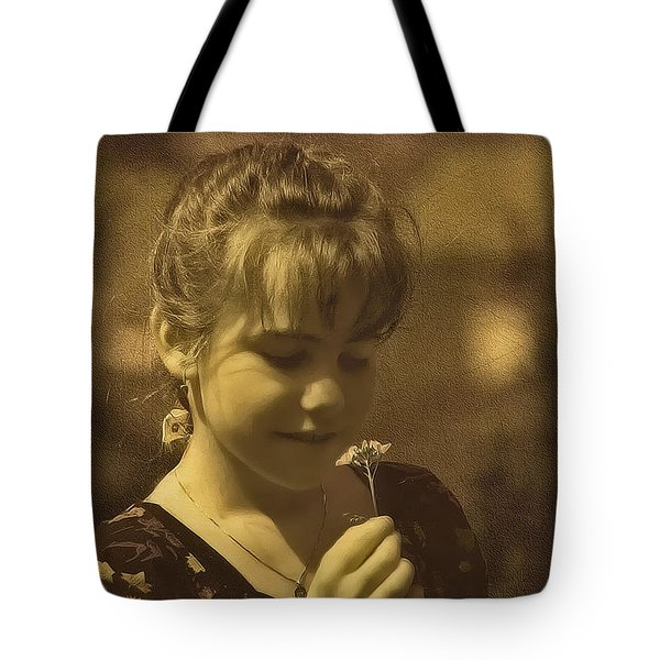 Girl With Flower Tote Bag by Hanny Heim