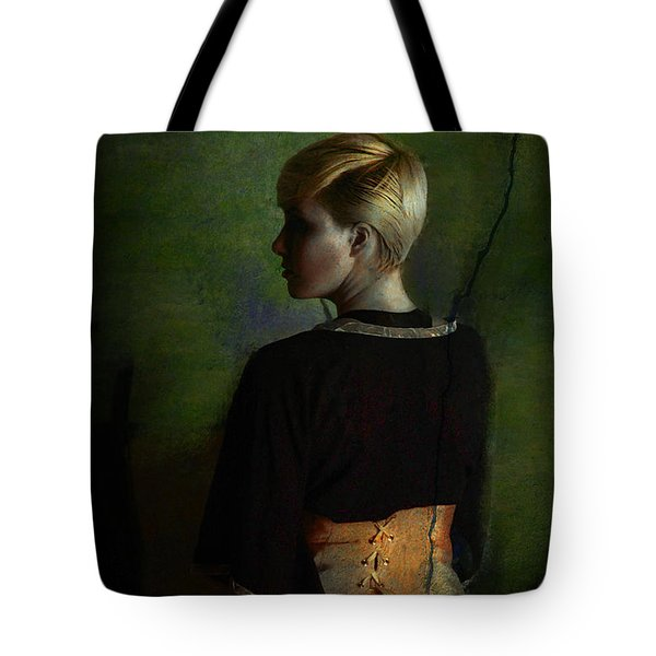 Girl With Green Background Tote Bag
