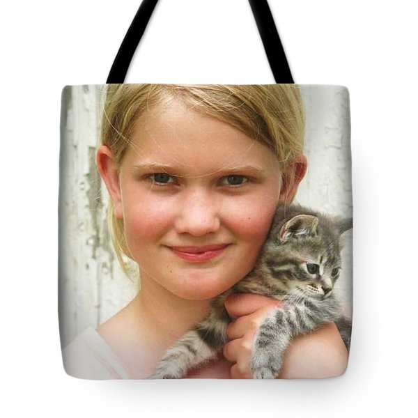 Girl With Kitten Tote Bag