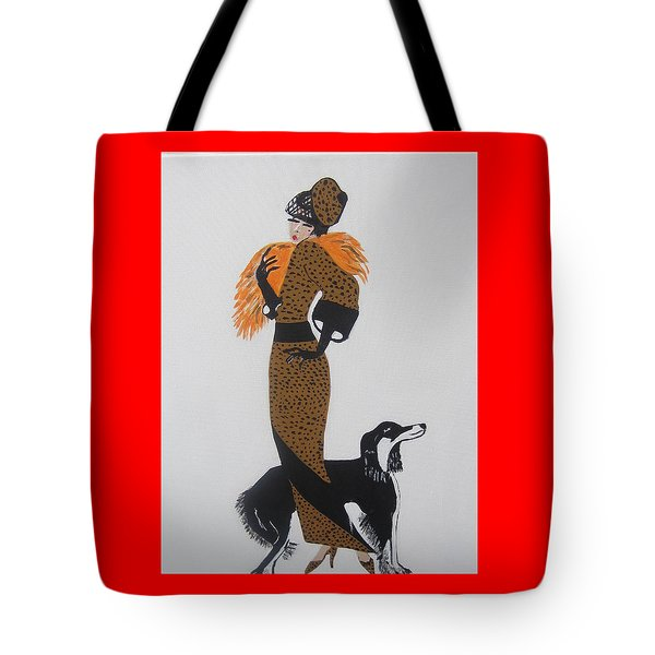 Tote Bag featuring the painting Girl With Orange Fur by Nora Shepley