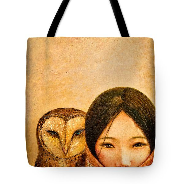 Girl With Owl Tote Bag