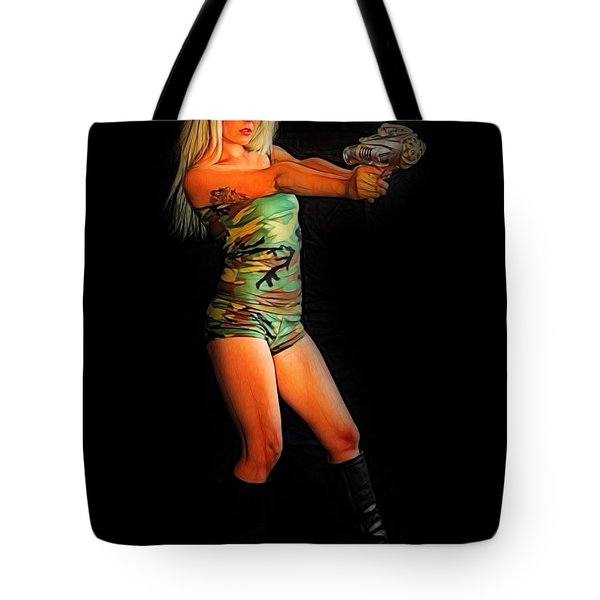 Girl With Ray Gun Tote Bag