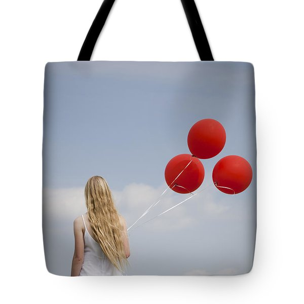 Girl With Red Balloons Tote Bag