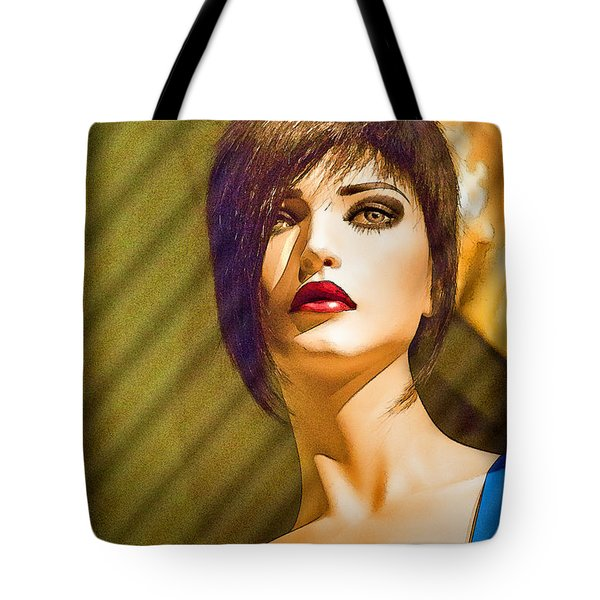 Girl With The Blue Dress On Tote Bag