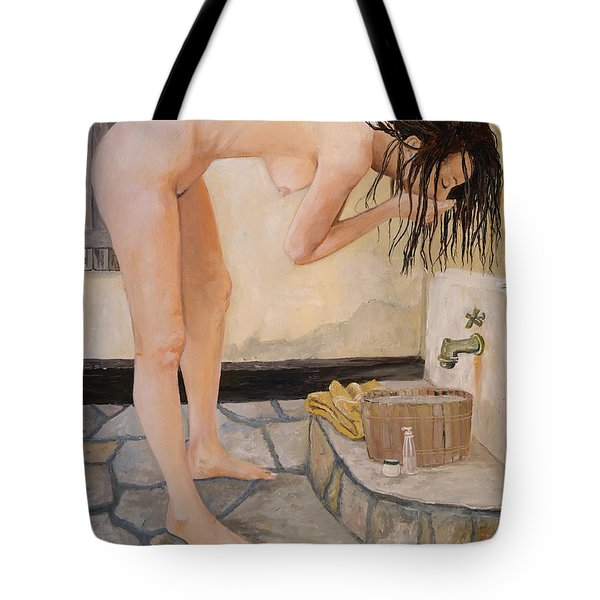 Tote Bag featuring the painting Girl With The Golden Towel by Alan Lakin