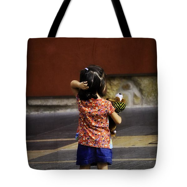 Girl With Toy Dog Tote Bag by Mary Machare