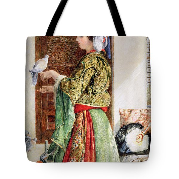 Girl With Two Caged Doves, Cairo, 1864 Tote Bag by John Frederick Lewis