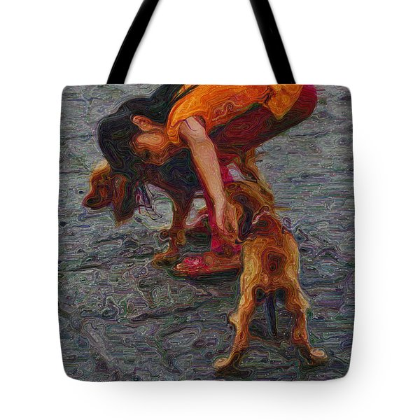 Girl With Two Dogs Tote Bag by Mary Machare