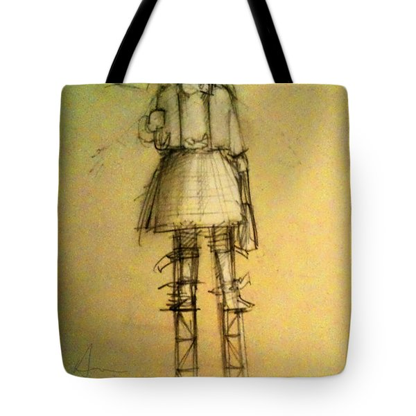 Girl With Umbrella And Cat Tote Bag