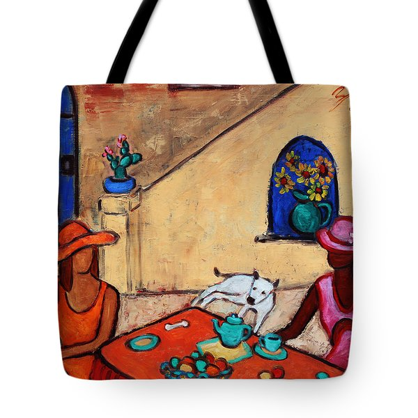 Tote Bag featuring the painting Girlfriends' Teatime II by Xueling Zou
