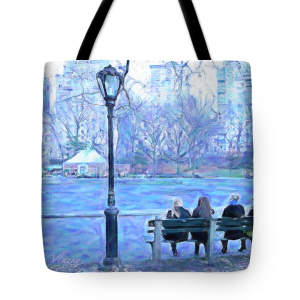 Girls At Pond In Central Park Tote Bag