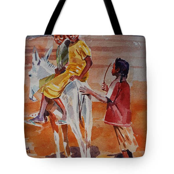 Girls Play Tote Bag by Mohamed Fadul