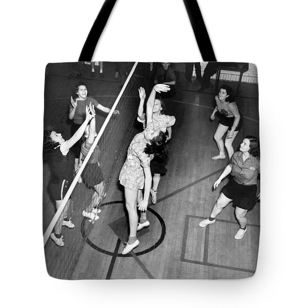 17d7e08e71 Girls Playing Volleyball Tote Bag