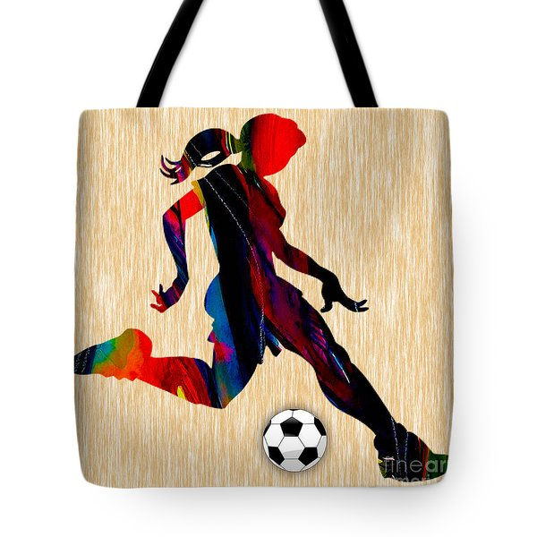 Girls Soccer Tote Bag by Marvin Blaine