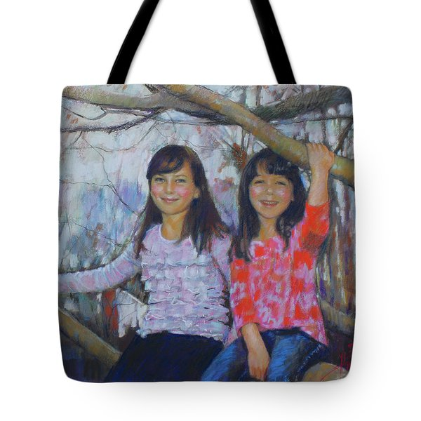 Tote Bag featuring the drawing Girls Upon The Tree by Viola El