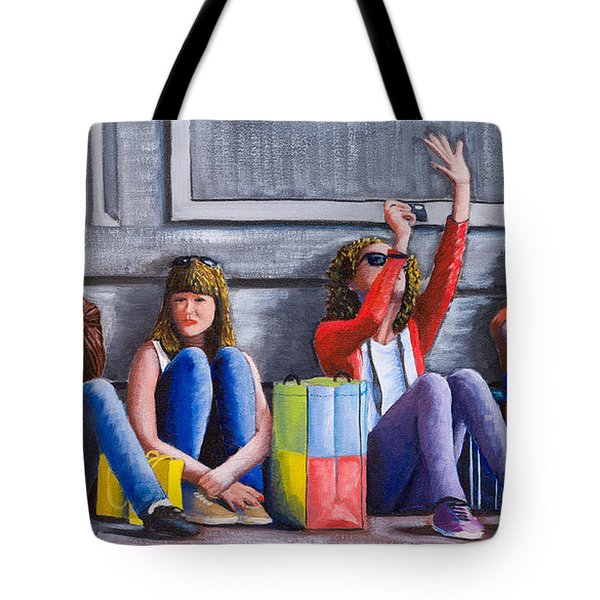 Girls Waiting For Ride Tote Bag