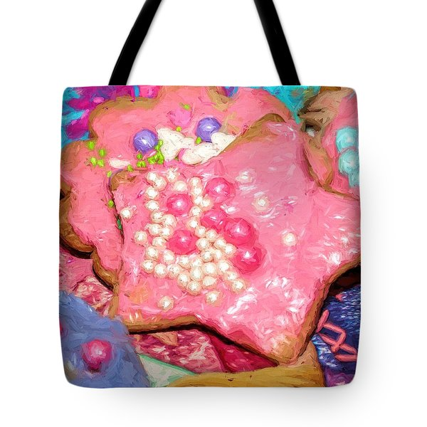 Tote Bag featuring the painting Girly Pink Frosted Sugar Cookies by Tracie Kaska