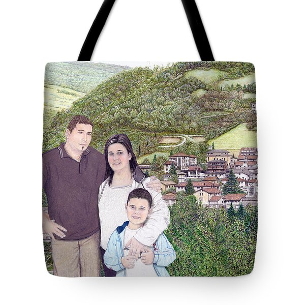 Tote Bag featuring the painting Giusy Mirko And Simone In Valle Castellana by Albert Puskaric