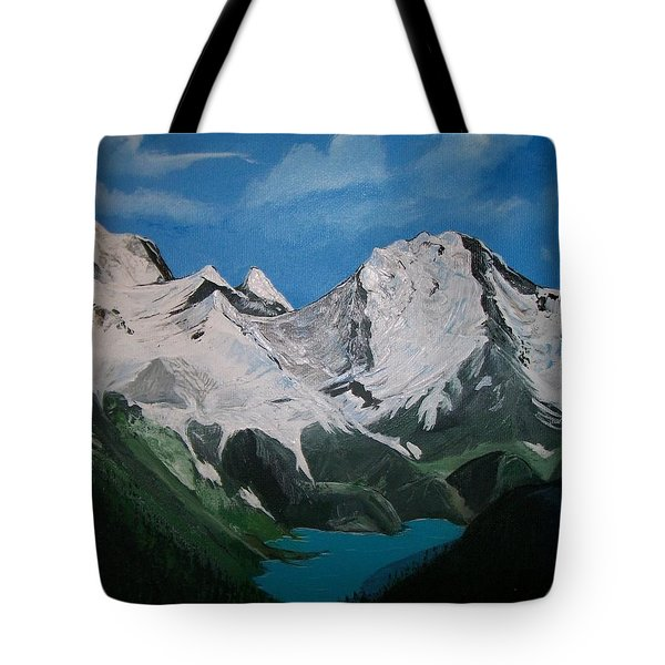 Tote Bag featuring the painting Glacier Lake by Sharon Duguay
