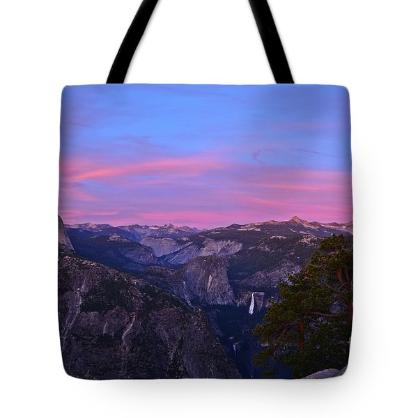 Glacier Point With Sunset And Moonrise Tote Bag