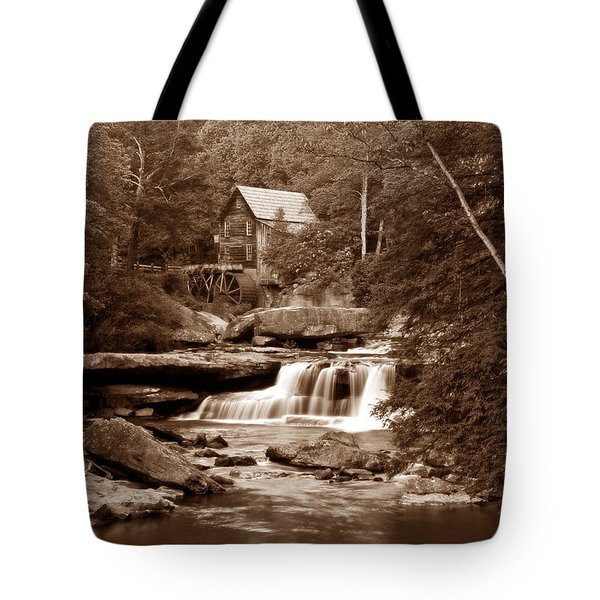 Glade Creek Mill In Sepia Tote Bag by Tom Mc Nemar