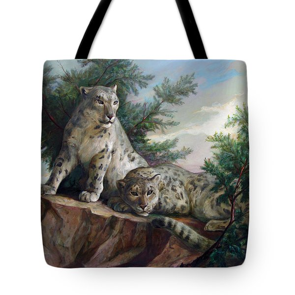 Glamorous Friendship- Snow Leopards Tote Bag