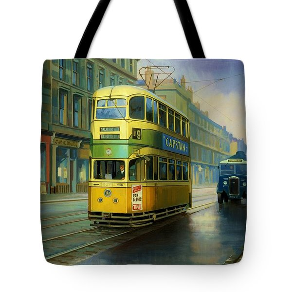 Glasgow Tram. Tote Bag by Mike  Jeffries