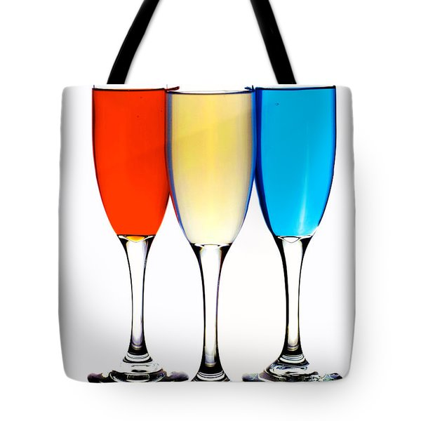 Glass Cups And Colorful Drinking Liquid Art Tote Bag by Paul Ge