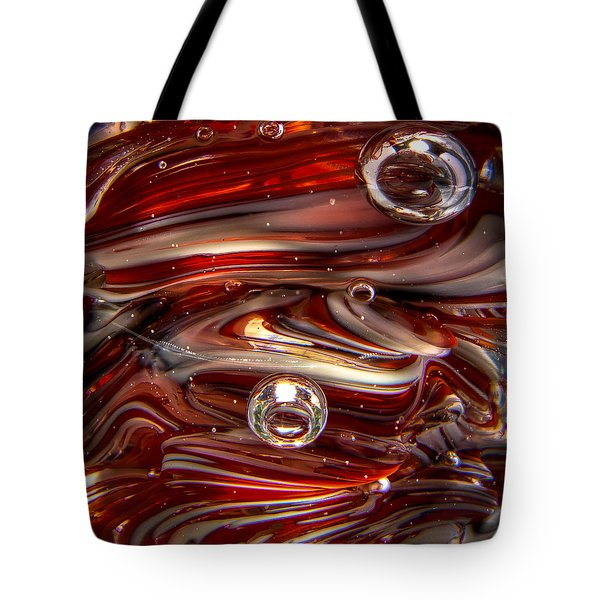 Glass Macro Abstract Crimson And Gray IIi Tote Bag by David Patterson