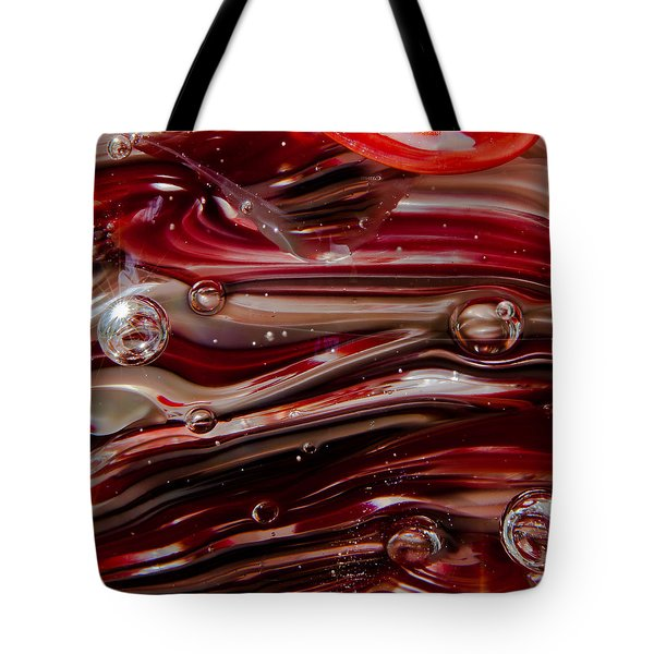 Glass Macro Abstract - Crimson And Gray V Tote Bag by David Patterson