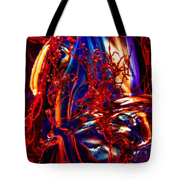 Glass Macro Abstract Flames Tote Bag by David Patterson