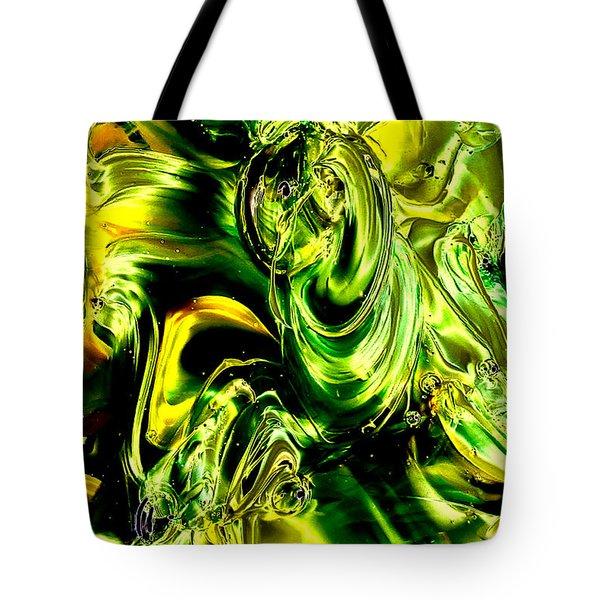 Glass Macro Abstract - Greens And Yellows Tote Bag by David Patterson