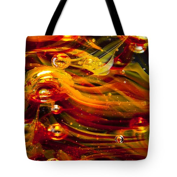 Glass Macro Abstract - Molten Fire Tote Bag by David Patterson
